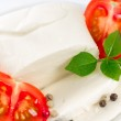 Mozzarella, tomatoes and basil — Stock Photo #24787791
