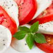 Mozzarella, tomatoes and basil leaves — Stock Photo