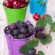Three buckets with berries — Stock Photo #27311951
