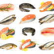 Stock Photo: Set of fish isolated on white background.
