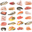 Set of meat, chicken and fish — Stok fotoğraf