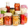 Marinated vegetables in glass jars   — Stock Photo