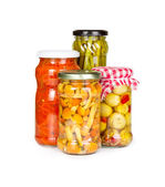 Canned vegetables in glass jars — Stock Photo