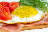 Sandwich with fried eggs — Stock Photo