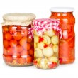 Canned vegetables in glass jars — Stock Photo #29314679