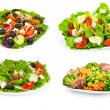 Set of salad with fresh vegetables — Stock Photo