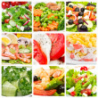 Collage of salads — Stock Photo