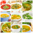Set of different soups — Stock Photo