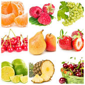 Collage of fresh fruits and berries — Stock Photo
