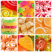 Collage of candy and sweets — Stock Photo