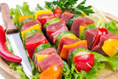 Meat on skewers — Stock Photo