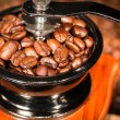 Coffee beans in a mill. — Stock Photo