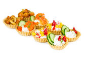 Set of tartlets with different stuffings  — Stock Photo