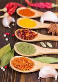 Especiarias coloridas em colheres de madeira — Fotografia Stock