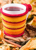 Fruit tea in a cup in a knitted cover — Stock Photo
