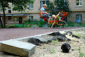 Děti hrají na houpačce — Stock fotografie