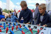 Boys playing table football — Foto Stock