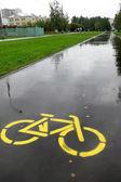 Radweg mit einem Schild — Stockfoto