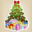 Stock Vector: Christmas tree with gifts