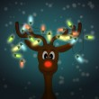 Funny reindeer with christmas lights shining in dark — Stock Photo #12810578