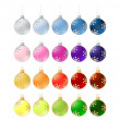 Twenty colorful christmas balls- illustration — Stock Photo