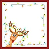 Funny reindeer with christmas lights in red frame — Stock Photo