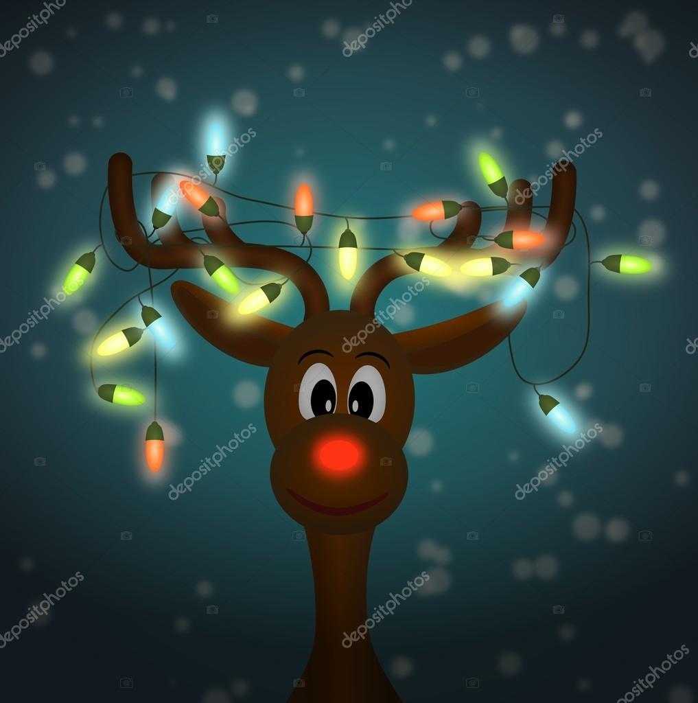 Lustige rentiere mit weihnachtsbeleuchtung leuchten im for Schaukelstuhl kleinkind