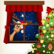 Reindeer looking through window at christmas time — Stock Vector