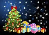 Vánoční stromeček s dárky — Stock vektor