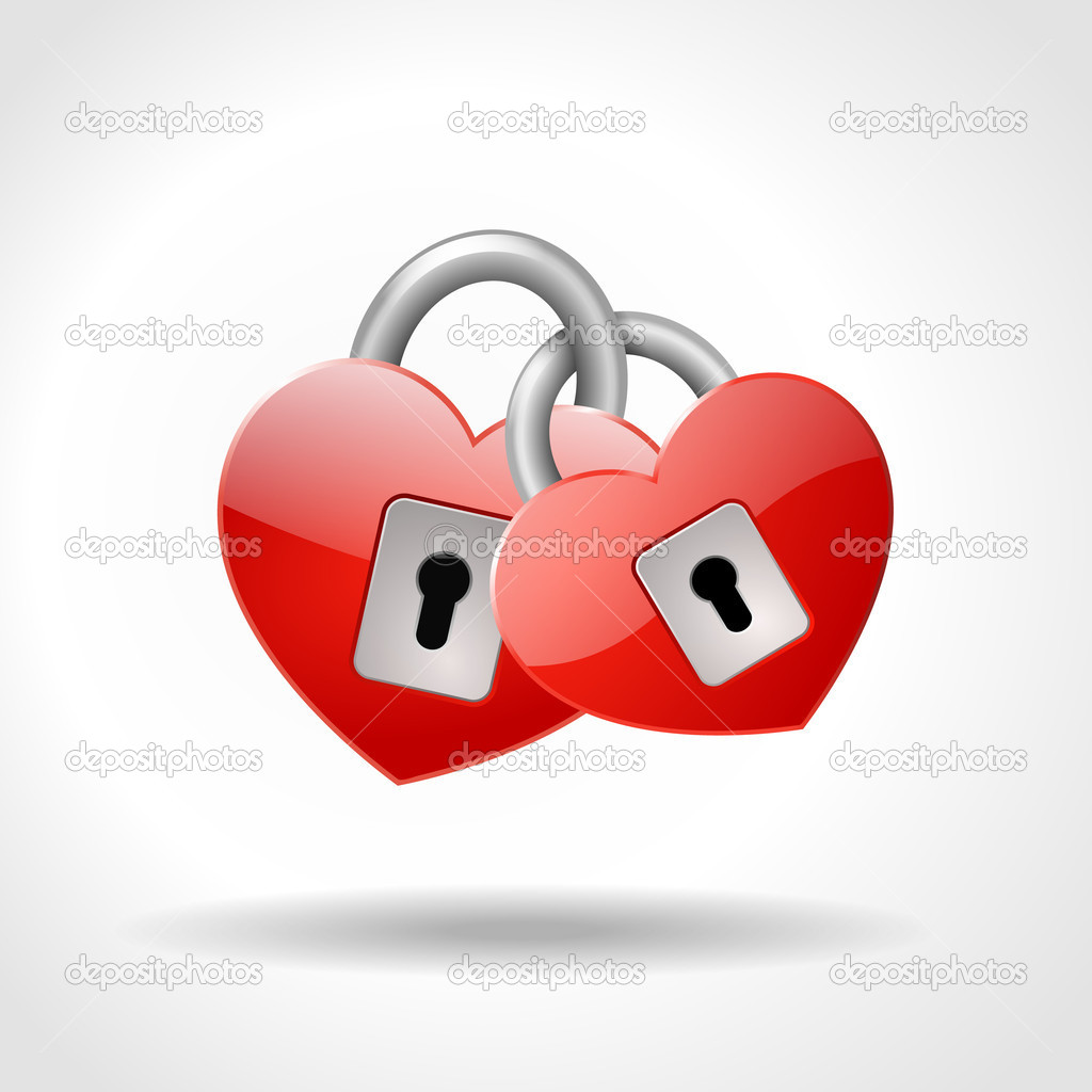 Two locked padlocks in shape of red hearts, symbol of true love, vector illustration, eps 10 — Stock Vector #13510092