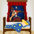 Christmas reindeer looking through window at sleeping baby — Stock Vector