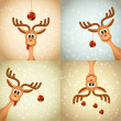 Four funny christmas reindeer — Stock Vector #13550415