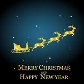Golden deer with sleigh — Stock Vector