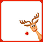 Christmas reindeer in empty frame with red border — Stock Vector