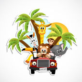 Animals in the car — Stock Vector