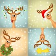 Four funny christmas reindeer — Stock Vector