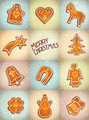 Christmas background with gingerbread — Stock Vector