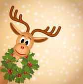 Funny christmas reindeer with green wreath of holly — Stock Vector