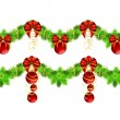 Stock Vector: Two christmas garlands with golden and red decorations
