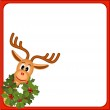 Funny reindeer with wreath of holly — Stock Vector #14251143