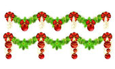 Two christmas garlands with golden and red decorations — Stock Vector