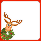 Funny reindeer with wreath of holly — Stockvector