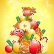 Royalty-Free Stock Imagem Vetorial: Abstract christmas tree on golden background