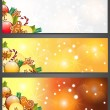 Christmas banners with apples, decorations and gingerbread — Stock Vector