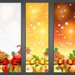 Christmas banners with apples, decorations, ribbons and gingerbr - Stock Vector