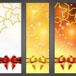 Christmas banners with ribbon and stars - Stock Vector