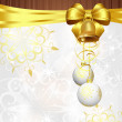 Christmas background with golden ribbon and white decorations - Stock Vector