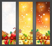 Christmas banners with apples, decorations, ribbons and gingerbr — Stock Vector