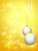 Golden shinny background with white christmas balls — Stock Vector