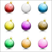 Collection of nine christmas balls on white background — Stock Vector